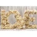 Ξύλινο LOVE με λουλούδια 53*53cm