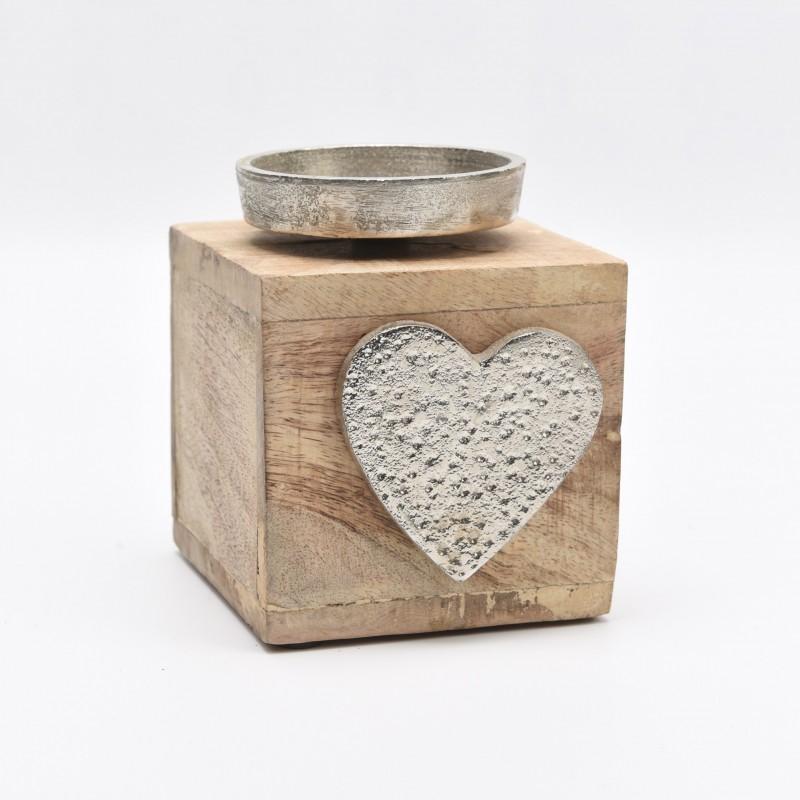 Επιτραπέζιο κηροπήγιο 1 θέσης τετράγωνο ξύλινο με μεταλλική καρδιά και βάση για κερί 10X12cm