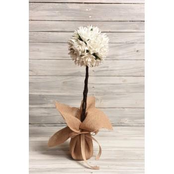 Δεντράκι για στολισμούς λευκό, με λουλούδια λατέξ 53cm