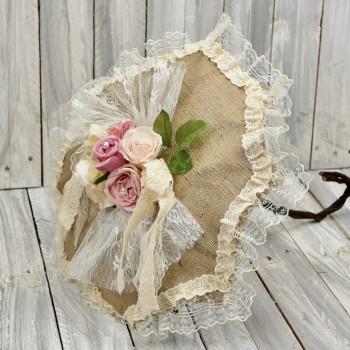 Vintage διακοσμητική ομπρέλα για στολισμούς από λινάτσα, δαντέλα και λουλούδια 40*50cm