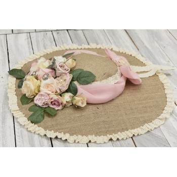 Vintage διακοσμητικό καπέλο για στολισμούς από λινάτσα, δαντέλα και λουλούδια 45cm