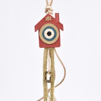 Κρεμαστό ξύλινο γούρι σπιτάκι  κόκκινο με plexiglass και κορδέλες 10Χ40cm