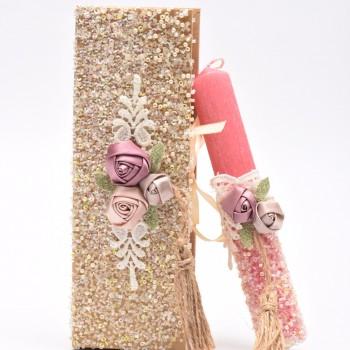Λαμπάδα με χάντρα και υφασμάτινα λουλούδια 7*20cm
