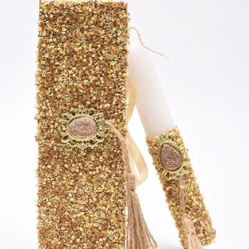 Λαμπάδα με χρυσή χάντρα και μεταλλικό μοτίφ  7*20cm