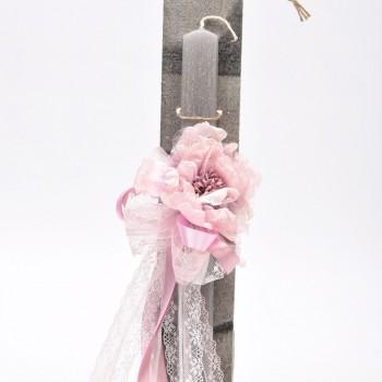 Λαμπάδα με λουλούδι και δαντέλα  7*45cm