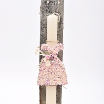 Λαμπάδα με φόρεμα από χάντρα  7*45cm