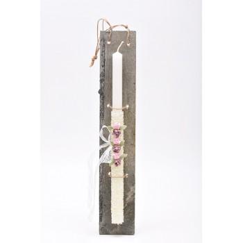 Λαμπάδα με λευκή χάντρα και υφασμάτινα λουλούδια  7*45cm
