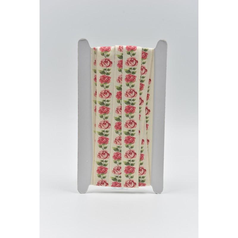 Κορδέλα τυπωμένη λουλούδια 2,5cm 10m