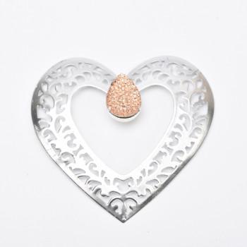 Μεταλλική καρδιά ασημί
