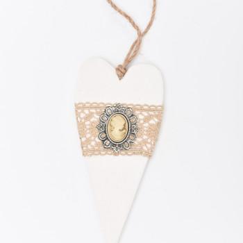 Μπομπονιέρα Ξύλινη καρδιά χρυσό Καμέο