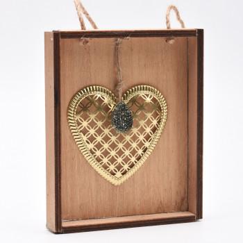 Ξύλινο κάδρο με μεταλλική καρδιά