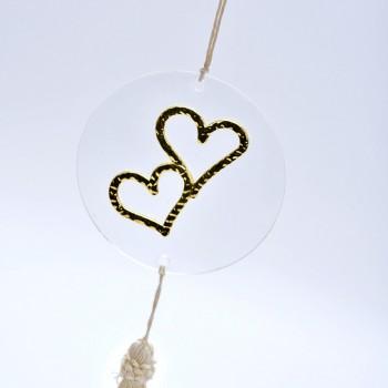 Μπομπονιέρα Plexi Glass διπλή καρδιά
