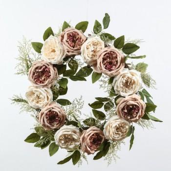 Στεφάνι με τριαντάφυλλα και πρασινάδες Φ50