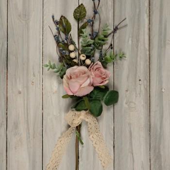 Μπράνς με  ροζ τριαντάφυλλα  και παχύφυτα 40cm