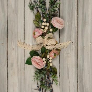 Μπράνς ανθοδέσμη με λουλούδια και παχύφυτα 50cm