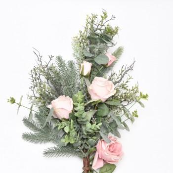 Μπράνς ανθοδέσμη με ροζ τριαντάφυλλα και πράσινα φύλλα  60cm