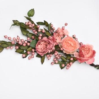 Μπράνς  μπουκέτο με ροζ λουλούδια 70cm