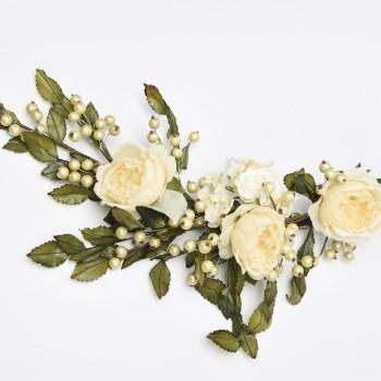 Μπράνς  με λευκά λουλούδια και πράσινα φύλλα 80cm
