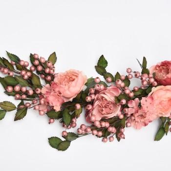 Μπράνς  με ροζ λουλούδια και πράσινα φύλλα 80cm