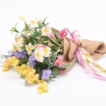 Μπράνς  ανθοδέσμη με λουλούδια και λινάτσα 30cm