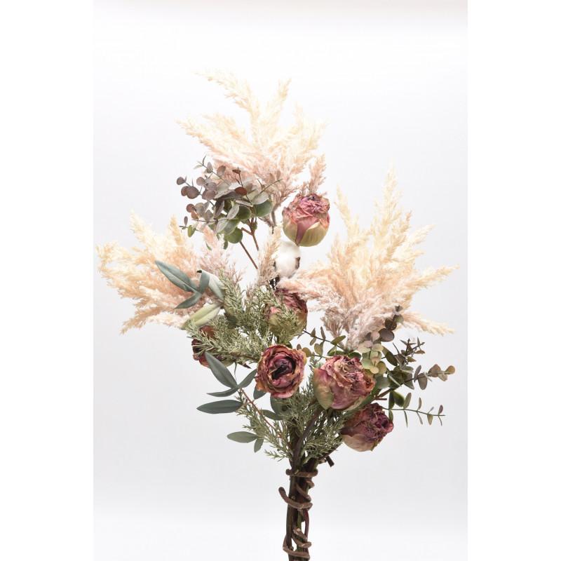 Μπράνς με τριαντάφυλλα pampas, πρασινάδες