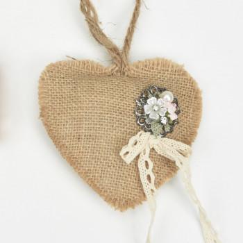 Μαξιλαράκι Λινάτσα καρδιά με αγκράφα