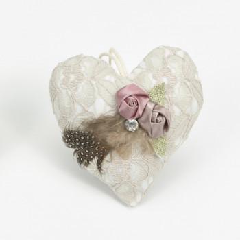 Μαξιλαράκι Δαντέλα Καρδιά με φτερό