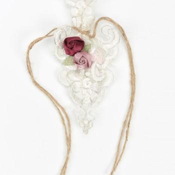 Πουγκί κιπούρ δαντέλα, σατέν λουλούδια