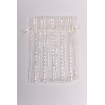 Πουγκί οργαντίνα λευκό με κάθετα γαζιά 12*7cm
