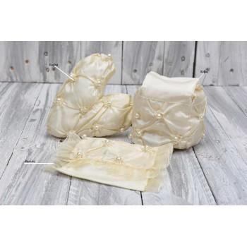 Πουγκί φάκελος με κεντημένες πέρλες 16*9cm