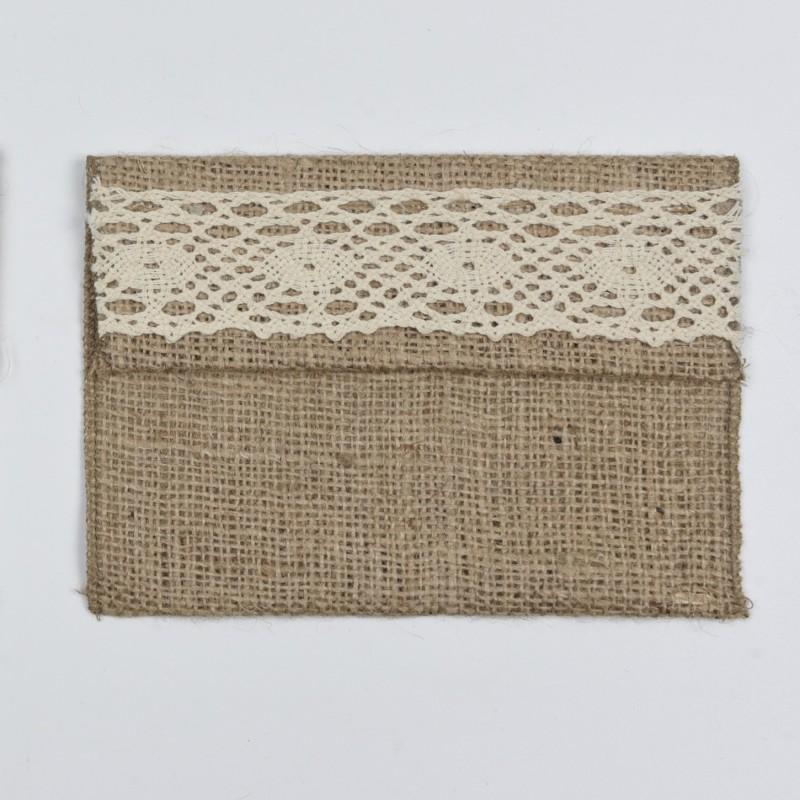 Φάκελος πουγκί λινάτσα με δαντέλα 18*13cm