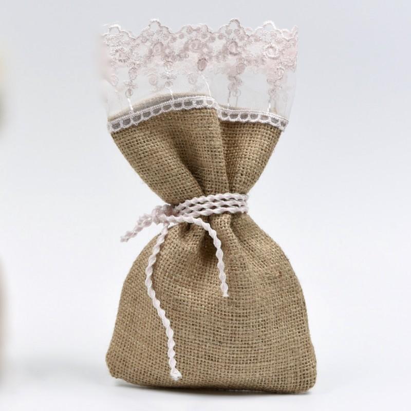 Πουγκί λινάτσα με κεντημένη δαντέλα 13*20cm