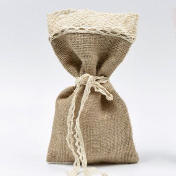 Πουγκί λινάτσα με κεντημένη δαντέλα 13*24cm