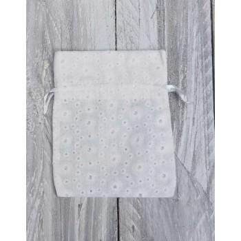 Πουγκί  δαντέλα κηπούρ λευκό  13*10cm