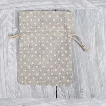 Πουγκί λινάτσα πουά ιβουάρ  10*14cm