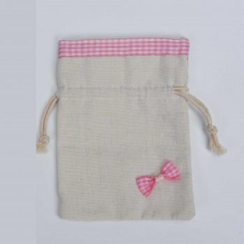Πουγκί λινάτσα με  καρό ύφασμα ροζ 14*10cm