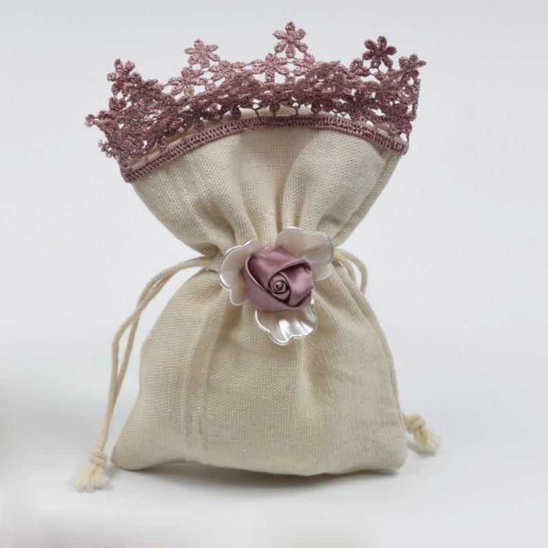 Πουγκί λινό με δαντέλα και λουλούδι
