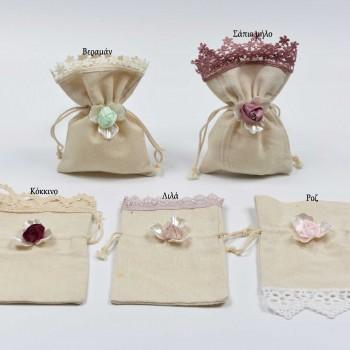 Πουγκί λινό ιβουάρ με  ροζ λουλούδι 10*17cm
