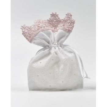 Πουγκί  δαντέλα κηπούρ  ροζ   10*16cm