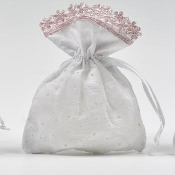 Πουγκί  δαντέλα κηπούρ  ροζ   10*14cm