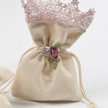 Πουγκί  λινάτσα με  δαντέλα  ροζ   10*16cm