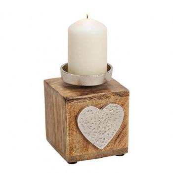Candle holder metallic heart