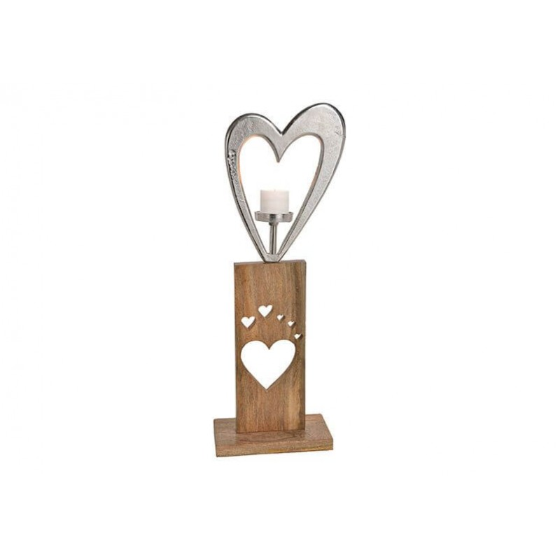 Candle holder metallic heart