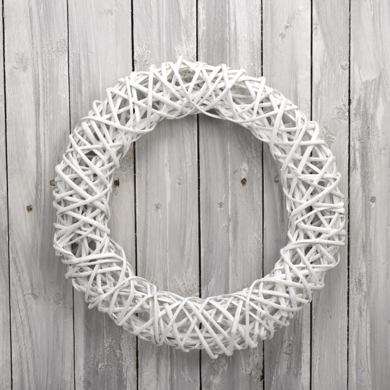 Ψάθινο στεφάνι Φ60cm Λευκό