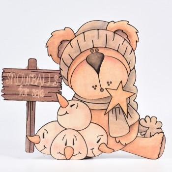 Μεγάλη φιγούρα ξύλινη κορίτσι με πιγκουΐνους 40CM