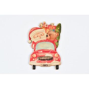 Ξύλινο στολίδι δέντρου αυτοκίνητο Άγιος Βασίλης 6.5X10CM