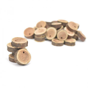 Wooden trunk slices with hole