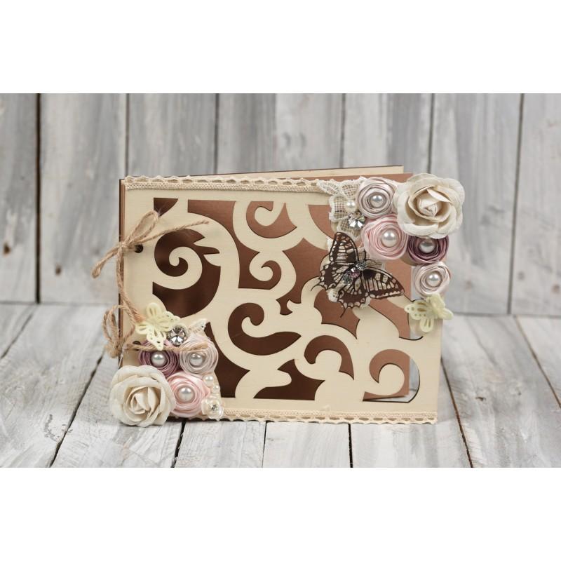 Ξύλινο βιβλίο ευχών Πεταλούδα 50σελίδες 19x25cm