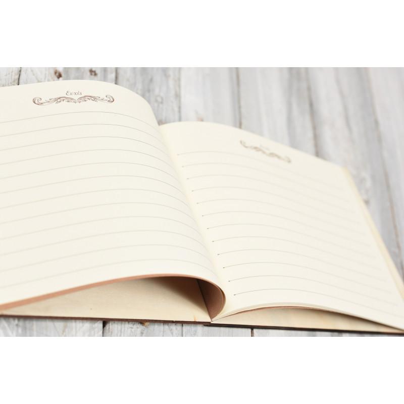 Ξύλινο βιβλίο ευχών 50 σελίδες στολισμένο