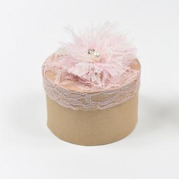 Μπομπονιέρα κουτί στρόγγυλο με δαντέλα ροζ Φ10